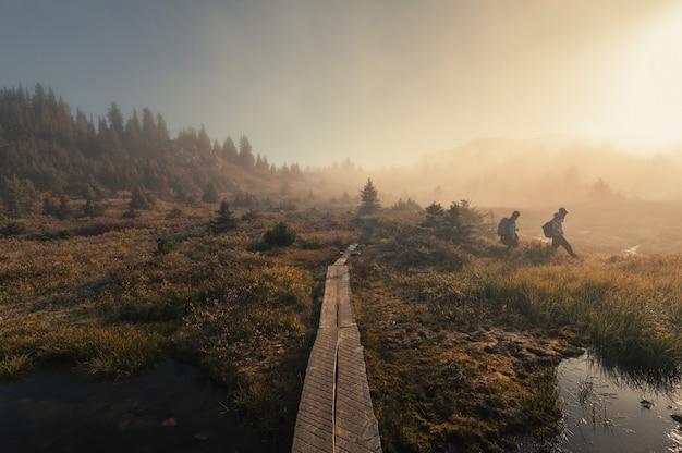 Podróżujący wędrujący po mglistym polu ze złotym światłem słonecznym w jesiennej dziczy w parku narodowym