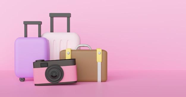 Podróży pojęcie. podróżników akcesoria na pastelowym różowym tle.