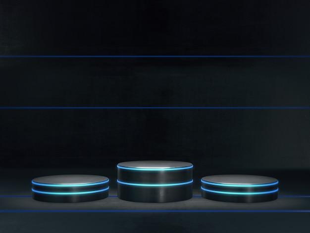 Podstawa do prezentacji, platforma do projektowania, pusta podstawa produktu z lekkim blaskiem. renderowanie 3d.