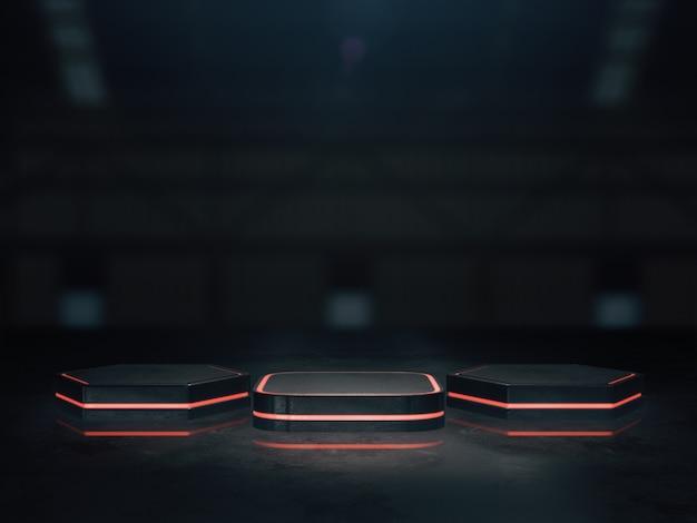 Podstawa do wyświetlania, tło platformy, pusta podstawa produktu z lekkim blaskiem. renderowanie 3d.