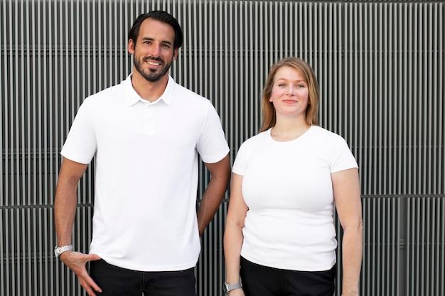 Podstawowe białe topy odzież męska i damska