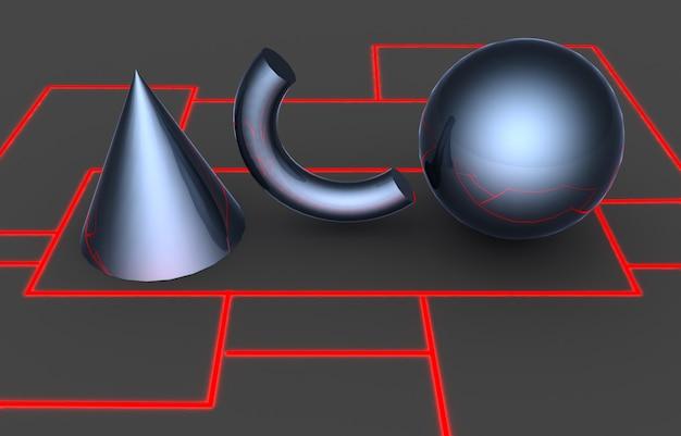 Podstawowe kształty geometryczne. ilustracja 3d