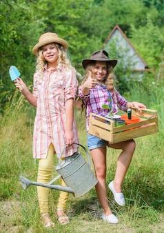 Podstawy ogrodnictwa lato na wsi siostry pomagają na podwórku dziewczyny z narzędziami ogrodniczymi