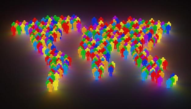 Podświetlana mapa świata od kolorowych ludzi