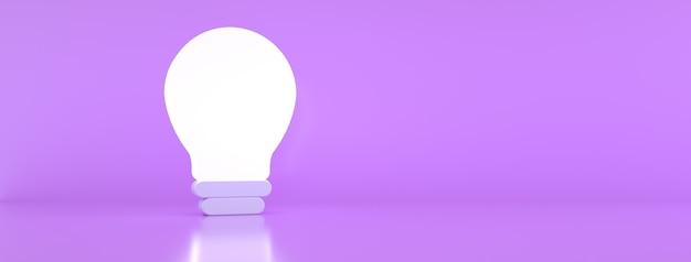 Podświetlana żarówka na fioletowym tle, koncepcja kreatywnego pomysłu, renderowanie 3d, obraz panoramiczny