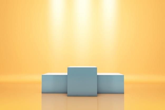 Podświetlane zwycięskie podium z ciepłym tłem