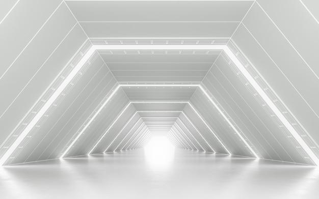 Podświetlany projekt wnętrza korytarza. renderowanie 3d