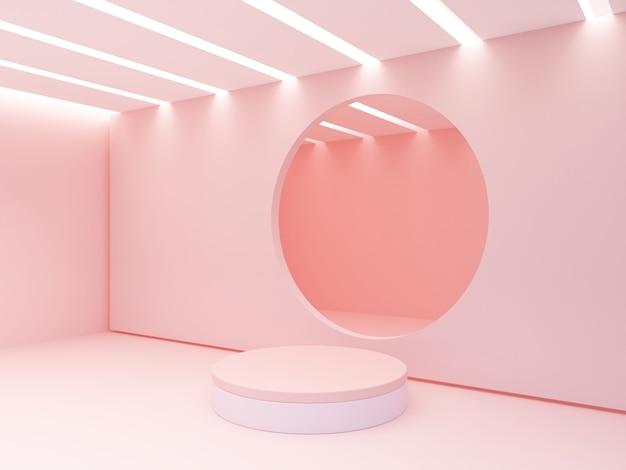 Podświetlany sufit. pusty pokój z pustym podium