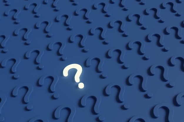 Podświetlany znak zapytania wraz z wieloma innymi niebieskimi znakami zapytania. ilustracja 3d.