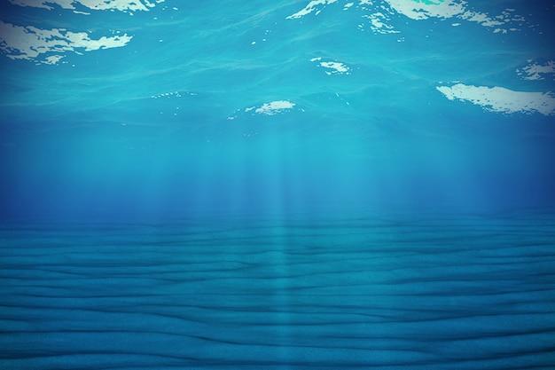 Podwodne niebieskie tło w morzu, oceanie, z objętości światła. renderowania 3d