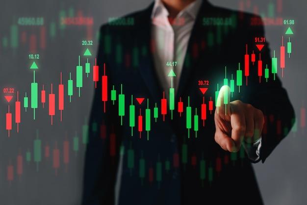Podwójna ekspozycja wykresu finansowego