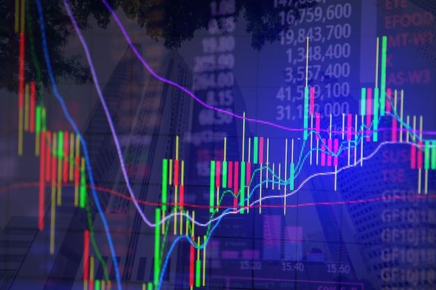 Podwójna ekspozycja wykresu świecy kij wykresu ze wskaźnikiem