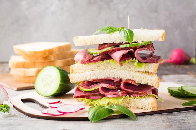Podwójna kanapka z pastrami, ogórkiem, rzodkiewką i bazylią na desce do krojenia. amerykańska przekąska. styl rustykalny.