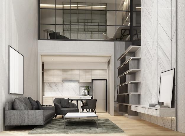 Podwójnej przestrzeni salon i jadalnia z drewnianą podłogą i marmurową ścianą dekoracyjną zdobią antresolę w obszarze roboczym renderowania 3d wnętrza
