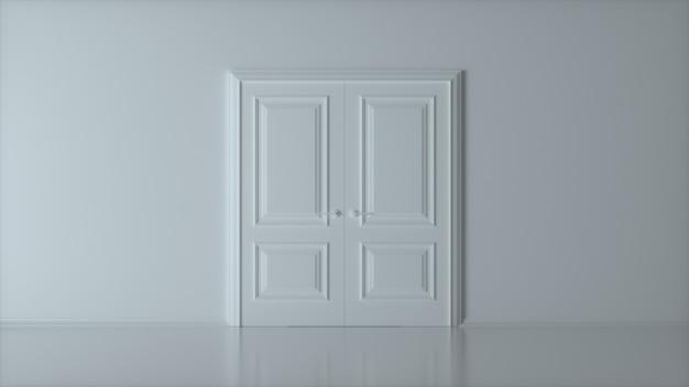 Podwójnie zamknięte białe drzwi na białej ścianie