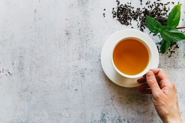 Podwyższony widok osoby trzymającej filiżankę herbaty z suszonymi liśćmi herbaty i miętą