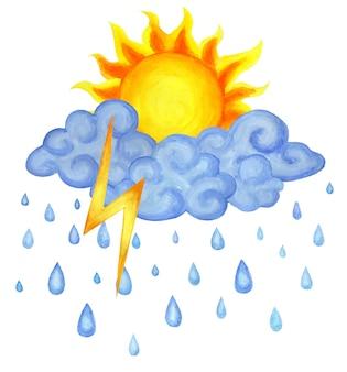 Pogoda to słońce z deszczem i błyskawicami ilustracja pogody dla dzieci na białym tle