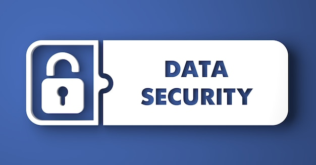 Pojęcie bezpieczeństwa danych. biały przycisk na niebieskim tle w stylu płaska konstrukcja.
