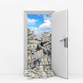 Pojęcie bogactwa. otwieranie drzwi z sterty ekstremalnych zbliżenie banknotów dolarowych. renderowanie 3d.