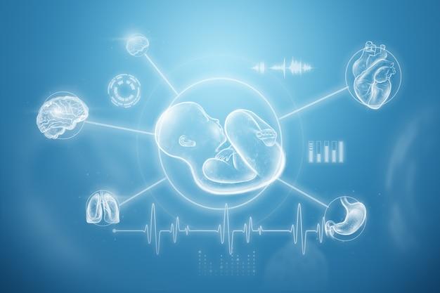 Pojęcie ciąży, sztuczne zapłodnienie, badanie lekarskie, przyszłość medycyny. ilustracja 3d, renderowania 3d.