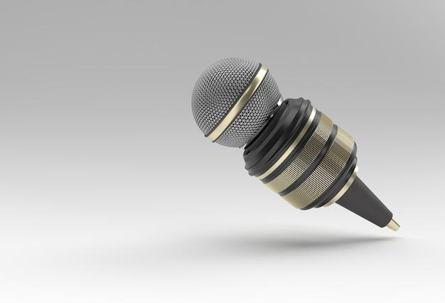 Pojęcie dziennikarstwa. wiadomości na żywo mic z kamerą 3d renderind background