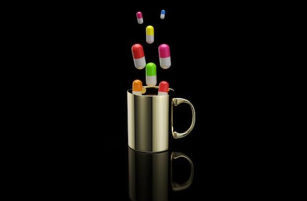 Pojęcie gorącej filiżanki kawy z pigułkami