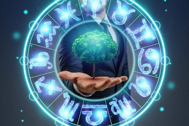 Pojęcie horoskopu, koła ze znakami zodiaku na tle zieleni, astrologii. konsultacje z gwiazdami.