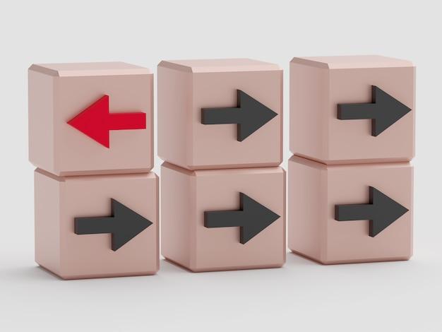 Pojęcie indywidualności. kostki ze strzałkami. jedna kostka z czerwoną strzałką, pozostałe z czarną strzałką. renderowanie 3d