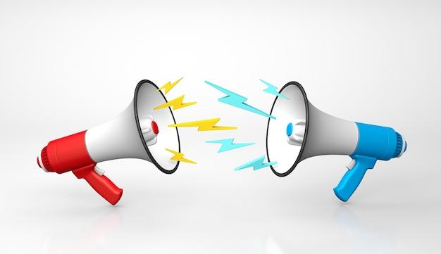 Pojęcie kłótni lub krzyczenia na siebie czerwony i niebieski megafon przeklinają się nawzajem