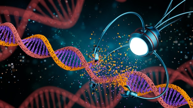 Pojęcie medyczne z zakresu nanotechnologii. inżynieria genetyczna i wykorzystanie nanorobotów do zastąpienia części cząsteczki dna. ilustracja 3 d.