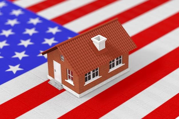 Pojęcie nieruchomości. dom mieszkalny nad ekstremalnym zbliżeniem amerykańskiej flagi. renderowanie 3d