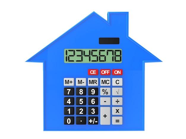Pojęcie nieruchomości. streszczenie dom z kalkulatorem na białym tle