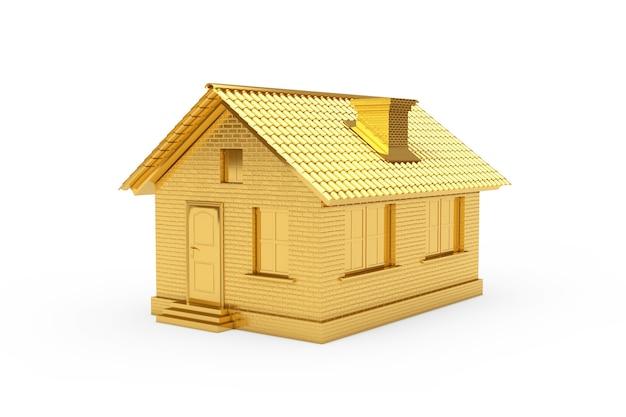 Pojęcie nieruchomości. złoty dom na białym tle. renderowanie 3d