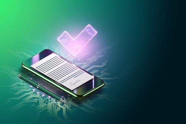Pojęcie podpisu elektronicznego, biznes na odległość, telefon komórkowy i obraz umowy do podpisu. zdalna współpraca, kopia przestrzeń. różne środki przekazu. ilustracja 3d, renderowanie 3d.