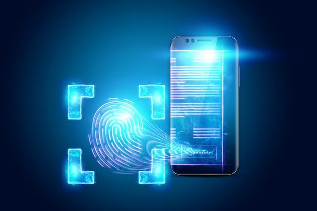 Pojęcie podpisu elektronicznego, wizerunek telefonu i hologram umowy oraz odcisk palca. zdalna współpraca, biznes online. różne środki przekazu. ilustracja 3d, renderowanie 3d.