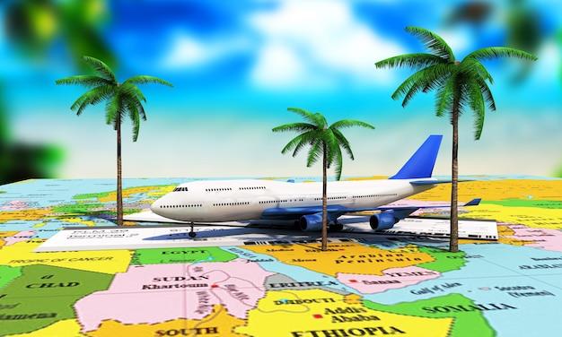 Pojęcie podróży. bilety lotnicze online. część linii morskiej z palmami i tablicą wyników odlotów na ekranie telefonu. ilustracja 3d