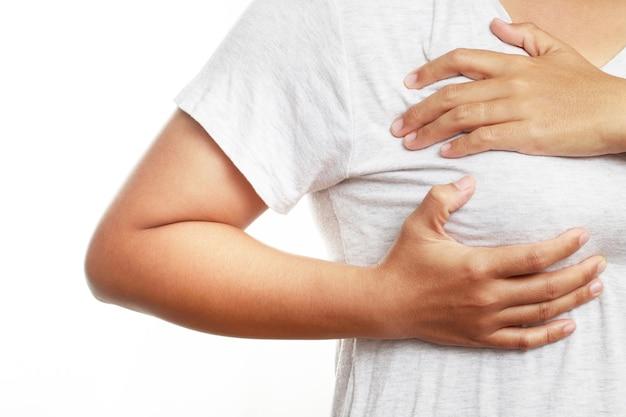 Pojęcie problemu zdrowotnego, kobieta ból piersi