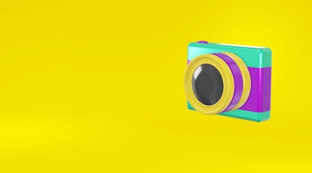 Pojęcie purpurowy zielony kamery fotografii kreskówki minimalny kruszcowy styl na żółtym tła 3d renderingu