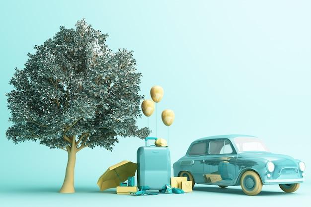 Pojęcie retro samochód z bagażem otaczającym podróży wyposażeniem w zielonego koloru brzmienia 3d renderingu