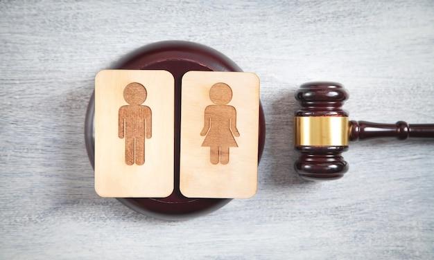 Pojęcie rozwodu. drewniane symbole męskie i żeńskie oraz młotek sędziowski