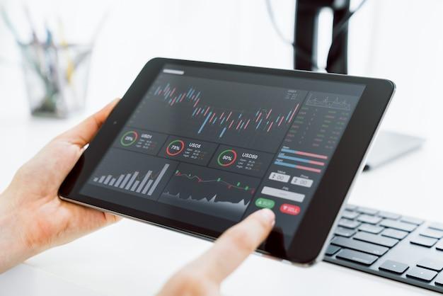 Pojęcie rynku giełdowego, dotyk handlarza na cyfrowym tablecie z wykresami analizy linii świec na stole w domu, diagramy na ekranie.