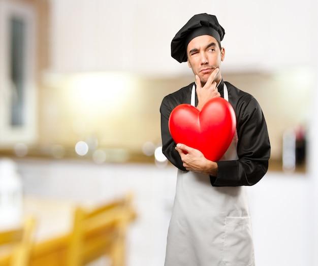 Pojęcie wątpliwe młody człowiek, który kocha jedzenie