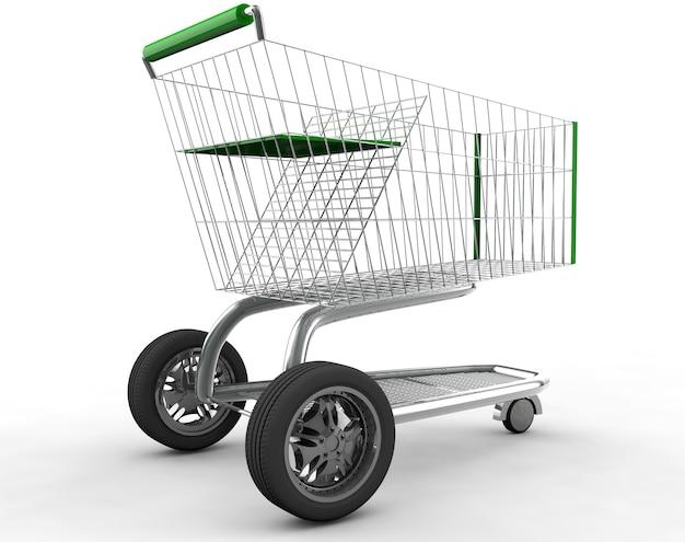 Pojęcie. wózek na zakupy z dużym kołem samochodowym na białym tle renderowanie 3d w wysokiej rozdzielczości