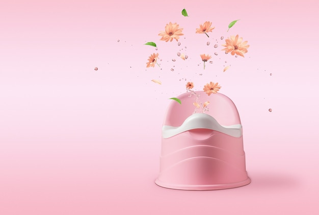 Pojęcie wychowania dzieci. różowy nocnik z plamami i kwiatami