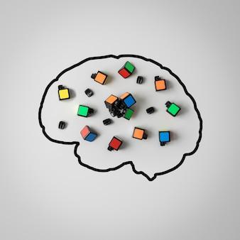 Pojęcie zdrowia psychicznego. sylwetka ludzkiego mózgu ze złamaną łamigłówką na szarym tle.