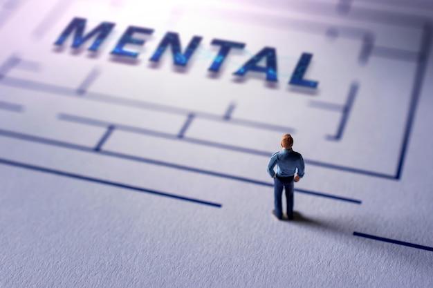 Pojęcie zdrowia psychicznego. wyzwanie dla terapeuty lub osoby, aby wyleczyć chorobę umysłu. złożoność psychologiczna, emocje, wspomnienia, wyobrażenia i życzenia człowieka. miniatura na labiryncie