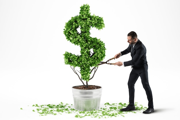 Pojęcie zielonej gospodarki. biznesmen kosi roślinę w kształcie symbolu dolara. renderowanie 3d.