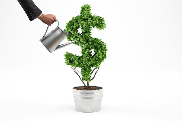 Pojęcie zielonej gospodarki. biznesmen podlewa roślinę w kształcie symbolu dolara. renderowanie 3d.
