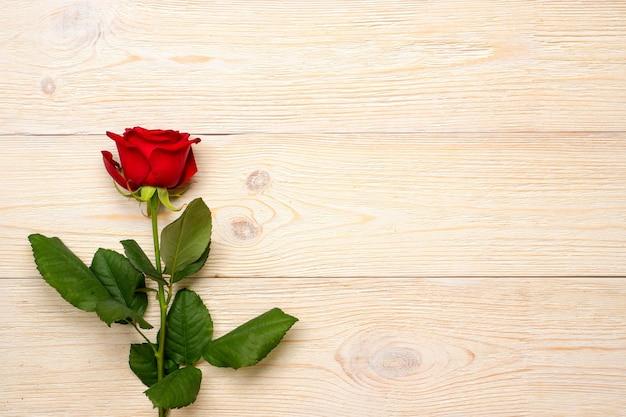 Pojedyncza czerwona róża nad białymi rustykalnymi drewnianymi deskami