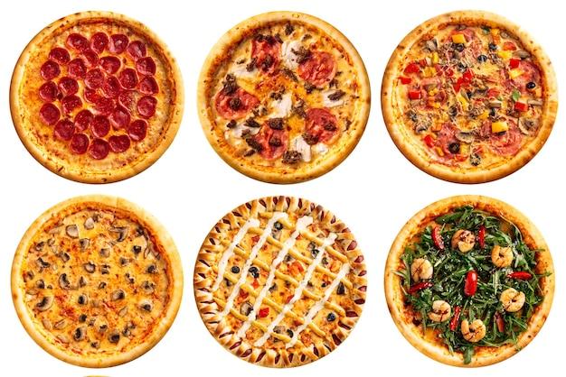 Pojedyncze różne różnorodne pizze projektowania menu kolażu na białym tle